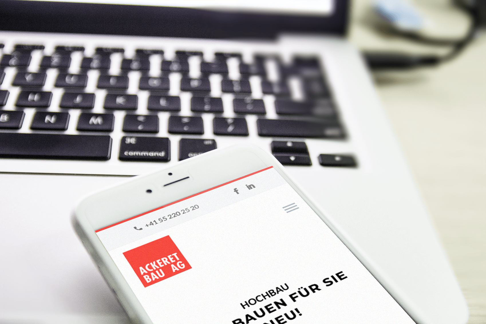 Ackeret Bau AG Webseite / Webdesign
